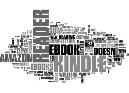 新しい AMAZON KINDLE 無線電子ブック リーダー テキスト WORD クラウドの概念について何を知っておくべき  イラスト・ベクター素材