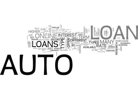 WHAT YOU SHOULD KNOW BEFORE YOU GET AN ONLINE AUTO LOAN TEXT WORD CLOUD CONCEPT