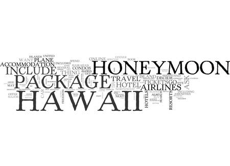 WHAT YOUR HAWAII HONEYMOON PACKAGE SHOULD INCLUDE TEXT WORD CLOUD CONCEPT Illusztráció