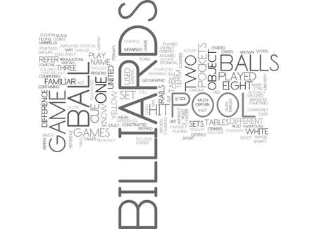WHATS THE DIFFERENCE BETWEEN POOL AND BILLIARDS TEXT WORD CLOUD CONCEPT