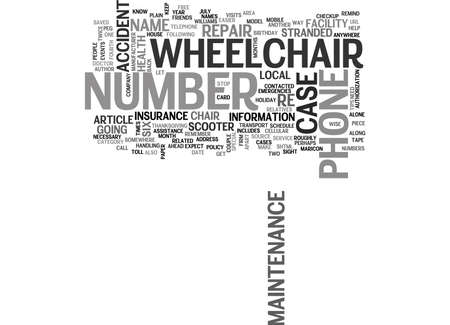 WHEELCHAIR MAINTENANCE TIPS TEXT WORD CLOUD CONCEPT Иллюстрация