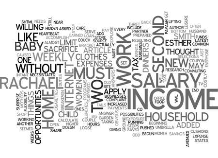 WHEN A TWO SALARY INCOME FAILS TEXT WORD CLOUD CONCEPT