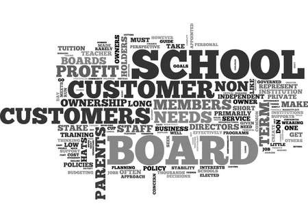 WHEN CUSTOMERS ARE OWNERS THE NON PROFIT SCHOOL BOARD TEXT WORD CLOUD CONCEPT