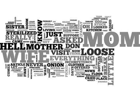 pleaded: WHEN MOTHER COMES TO VISIT TEXT WORD CLOUD CONCEPT Illustration