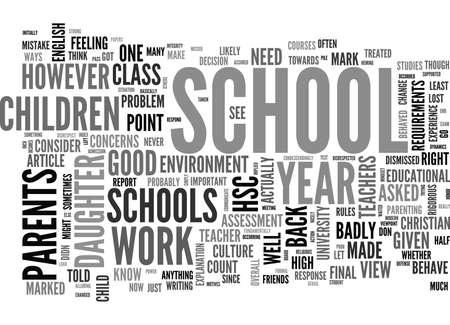 WHEN SCHOOLS BEHAVE BADLY TEXT WORD CLOUD CONCEPT Иллюстрация