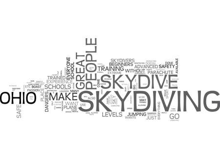 WHERE CAN YOU SKYDIVE IN OHIO TEXT WORD CLOUD CONCEPT