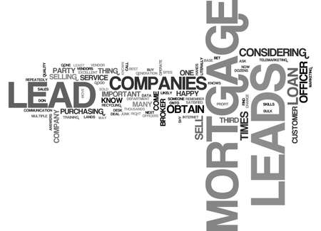dozens: WHERE MORTGAGE LEADS COME FROM TEXT WORD CLOUD CONCEPT Illustration