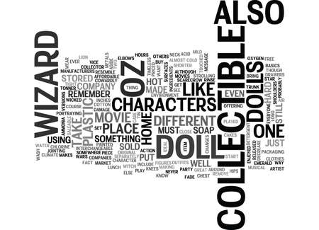WIZARD OF OZ COLLECTIBLE DOLLS TEXT WORD CLOUD CONCEPT