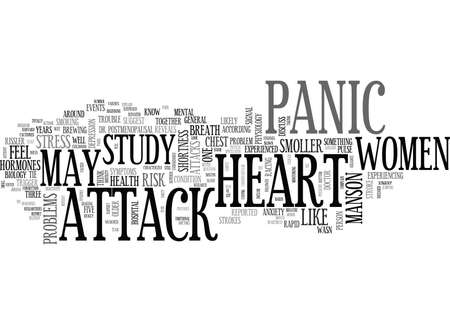 WOMEN AT RISK OF HEART STROKE DUE TO PANIC ATTACK TEXT WORD CLOUD CONCEPT