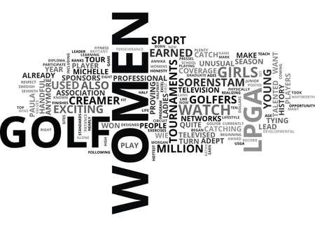 WOMEN GOLFERS SET NEW STANDARDS FOR THE LPGA TEXT WORD CLOUD CONCEPT Ilustração