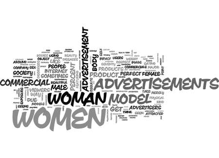 WOMEN IN ADVERTISEMENTS TEXT WORD CLOUD CONCEPT