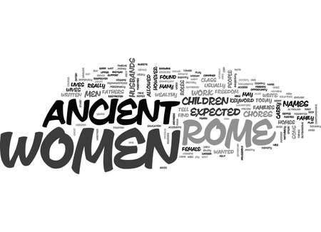 WOMEN IN ANCIENT ROME TEXT WORD CLOUD CONCEPT Ilustrace