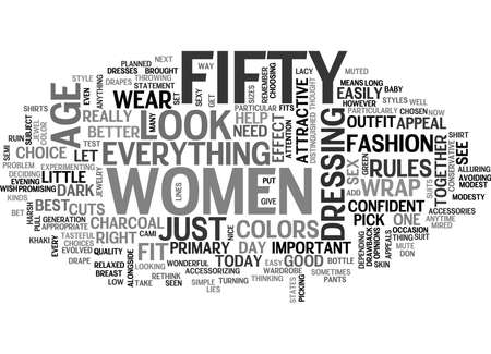 WOMEN OVER FIFTY TEXT WORD CLOUD CONCEPT Illustration