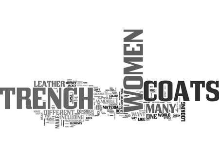 WOMEN S TRENCH COATS STYLISH AND COMFORTABLE TEXT WORD CLOUD CONCEPT Illusztráció