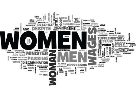 WOMEN S WAGES IS IT JUSTIFIED TEXT WORD CLOUD CONCEPT