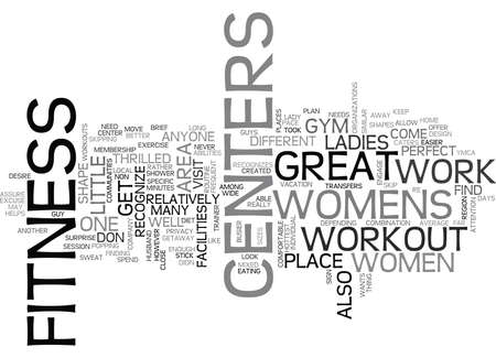 WOMENS FITNESS CENTERS TEXT WORD CLOUD CONCEPT Illustration