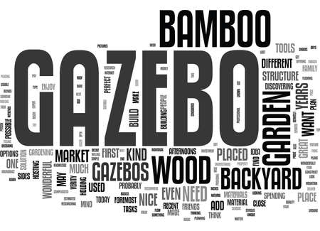 WOOD AND BAMBOO GAZEBO TEXT WORD CLOUD CONCEPT Illustration