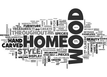 WOOD DECOR ADDS UNIQUENESS TO A HOME TEXT WORD CLOUD CONCEPT 向量圖像