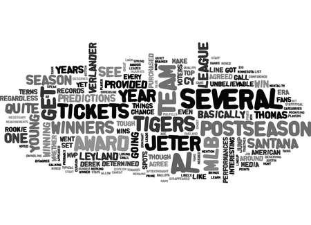 MLB 티켓이 AL 어워드 수상자 텍스트 개념 클라우드 개념을 볼 수있는 기회를 제공했습니다.