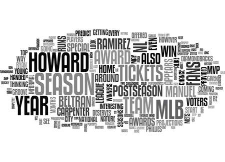WHICH MLB TICKETS PROVIDED A LOOK AT THE NL AWARD WINNERS IN TEXT WORD CLOUD CONCEPT Illustration