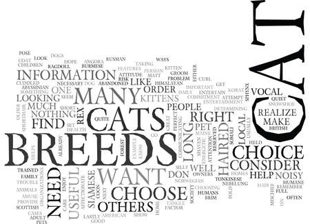 WHICH OF THESE CAT BREEDS IS THE RIGHT ONE FOR YOU TEXT WORD CLOUD CONCEPT