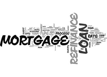 WHICH REFINANCE MORTGAGE LOAN DEALS ARE EASY TO PROCESS TEXT WORD CLOUD CONCEPT Ilustração