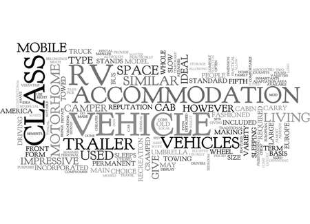 WHICH TYPE OF RV IS RIGHT FOR YOU TEXT WORD CLOUD CONCEPT Illustration