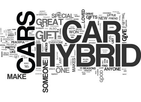 WHY A HYBRID CAR MAKES A GREAT GIFT TEXT WORD CLOUD CONCEPT