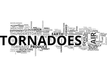 tornadoes: WHY A TORNADO OCCURS TEXT WORD CLOUD CONCEPT Illustration