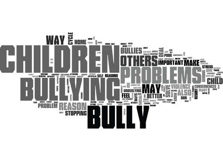 WHY DO CHILDREN BULLY TEXT WORD CLOUD CONCEPT
