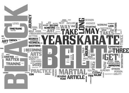 WHY DOES IT TAKE SO LONG TO GET A BLACK BELT IN KARATE TEXT WORD CLOUD CONCEPT Ilustrace