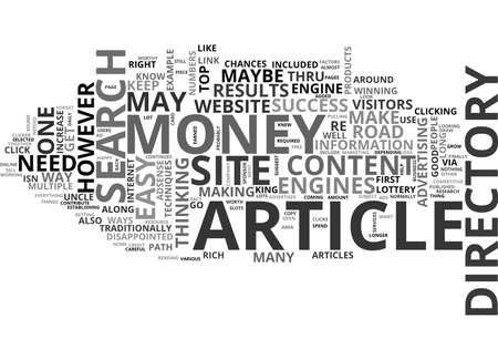 YOUR OWN ARTICLE DIRECTORY THE ROAD TO EASY MONEY TEXT WORD CLOUD CONCEPT