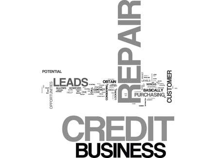 YOUR OWN CREDIT REPAIR BUSINESS TEXT WORD CLOUD CONCEPT