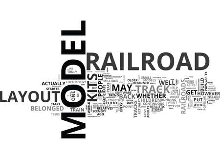 YOUR QUICK GUIDE TO MODEL RAILROAD LAYOUT KITS TEXT WORD CLOUD CONCEPT Ilustração