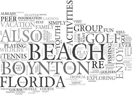 ACTIVIDADES JUVENILES EN BOYNTON BEACH FLORIDA TEXT WORD CLOUD CONCEPT