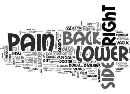 Z BACK PAIN LOWER RIGHT SIDE TEXT WORD CLOUD CONCEPT