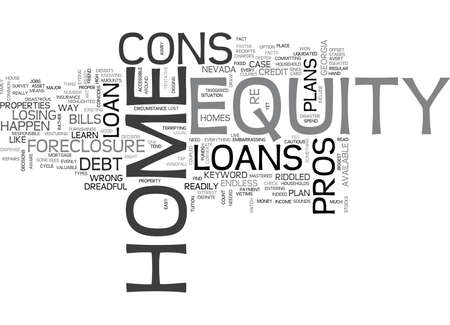 Z HOME EQUITY LOANS PROS AND CONS TEXT WORD CLOUD CONCEPT