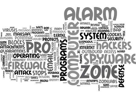 ZONELABS ZONE ALARM PRO REVIEW TEXT WORD CLOUD CONCEPT Ilustração
