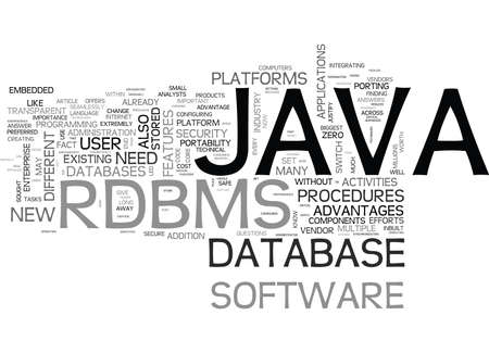 WHY JAVA RDBMS TEXT WORD CLOUD CONCEPT