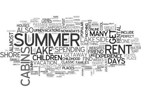 WHY LAKESIDE CABINS FOR RENT ARE GREAT SUMMER GETAWAYS TEXT WORD CLOUD CONCEPT