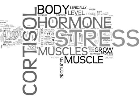 WHY MY MUSCLES WON T GROW CORTISOL STRESS HORMONE DESTROY MUSCLE TISSUES TEXT WORD CLOUD CONCEPT