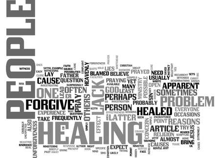 WHY PEOPLE ARE NOT HEALED AND HOW TO PREVENT IT TEXT WORD CLOUD CONCEPT Ilustração