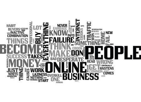 WHY PEOPLE FAIL WITH THEIR ONLINE BUSINESS TEXT WORD CLOUD CONCEPT