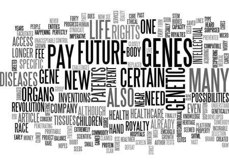 WILL YOUR CHILDREN OWN THEIR GENES TEXT WORD CLOUD CONCEPT Ilustrace