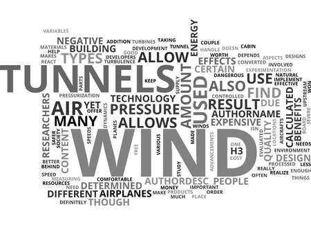 WIND TUNNELS TEXT WORD CLOUD CONCEPT