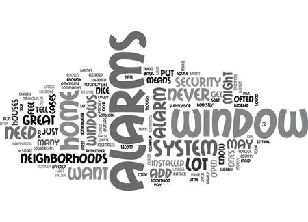 WINDOW ALARMS TEXT WORD CLOUD CONCEPT