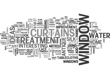 WINDOW TREATMENT IDEAS TO IMPROVE YOUR HOME TEXT WORD CLOUD CONCEPT Illustration
