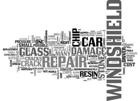 フロント ガラスひび割れ修理テキスト単語雲概念  イラスト・ベクター素材