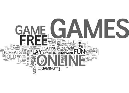 WHY I WANT TO PLAY FREE GAMES ONLINE TEXT WORD CLOUD CONCEPT Vectores