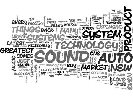WITH AUTO SOUND SYSTEMS NEWEST TECHNOLOGY ISN TEXT WORD CLOUD CONCEPT